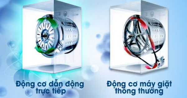 máy giặt truyền động gián tiếp và trực tiếp