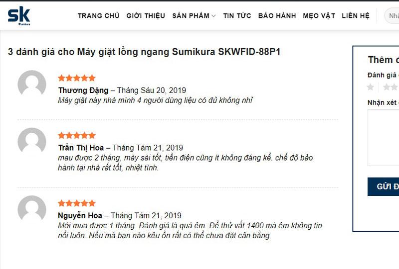 Đánh giá của khách hàng tại website