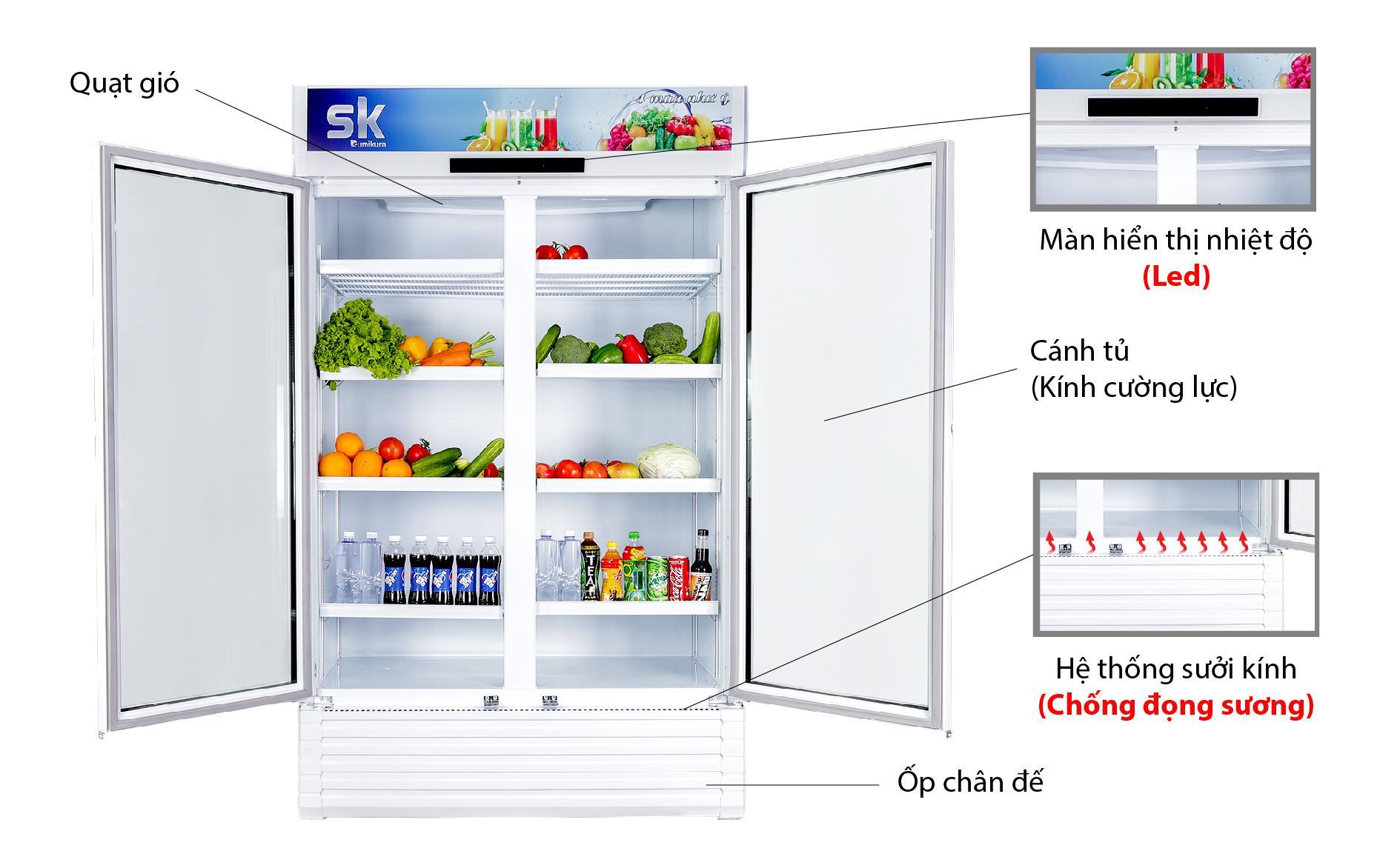 thiết kế tủ mát 2 cánh sumikura