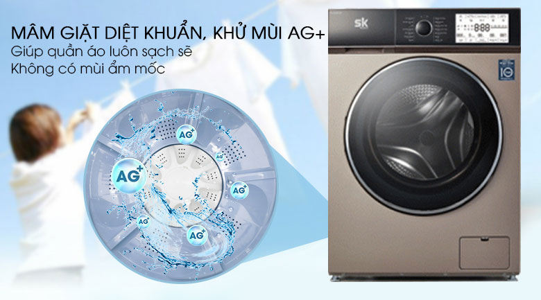 công nghệ kháng khuẩn khử mùi Ag+ máy giặt Sumikura
